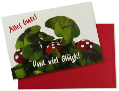 Grußkarte Kleeblatt mit Marienkäfer