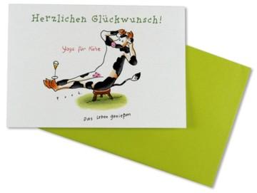 Glückwunschkarte Yoga für Kühe