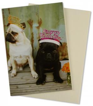 Geburtstagskarte Mops Happy Birthday