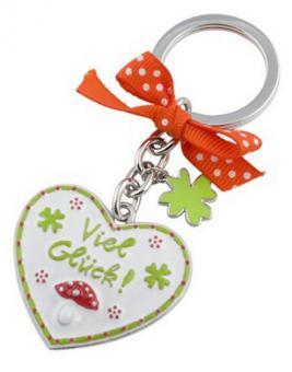 Schlüsselanhänger Viel Glück weiß