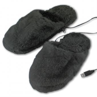 USB-Wärme-Pantoffeln grau