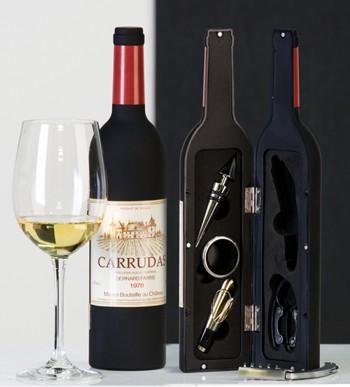 Weinaccessoires in Deko-Flasche 6tlg