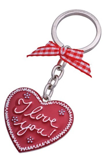 Schlüsselanhänger Lebkuchenherz I love you rot