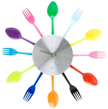 Wanduhr Silverware farbig